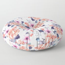 Living coral pink purple watercolor floral Floor Pillow