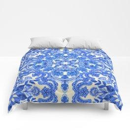Cobalt Blue & China White Folk Art Pattern Comforters