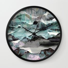 Painted abstract mountain landscape Wall Clock