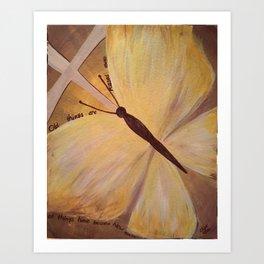Butterfly Cross Easter Art Print