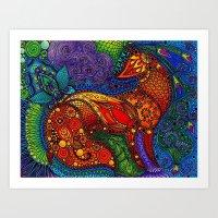 Floral Fox Color Art Print
