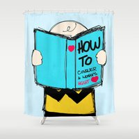 peanuts Shower Curtains featuring How to conquer a woman's heart by Alexandre Reis