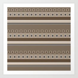 Squares and Stripes Geometric Design in Brown Art Print
