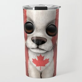 Cute Puppy Dog with flag of Canada Travel Mug