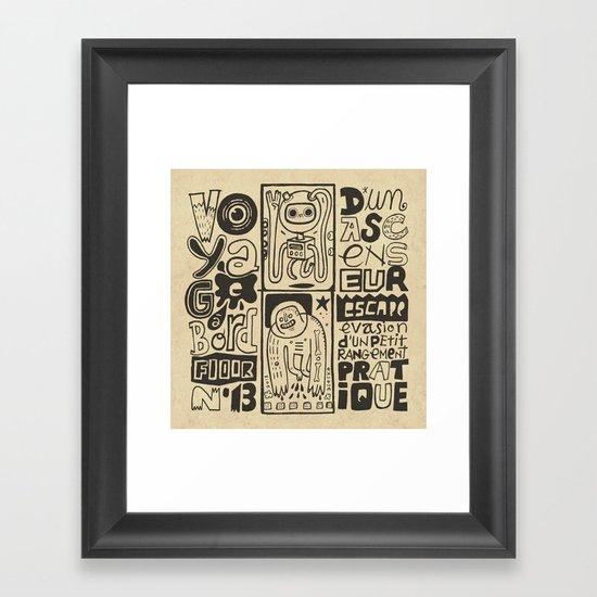 Voyage à bord d'un ascenseur (étage n°13) Framed Art Print