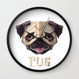 Triangular Geometric Pug Head Wall Clock