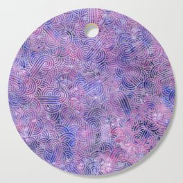 Purple and faux silver swirls doodles Cutting Board