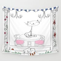 cafe Wall Tapestries featuring Cat Cafe by ArtRonin