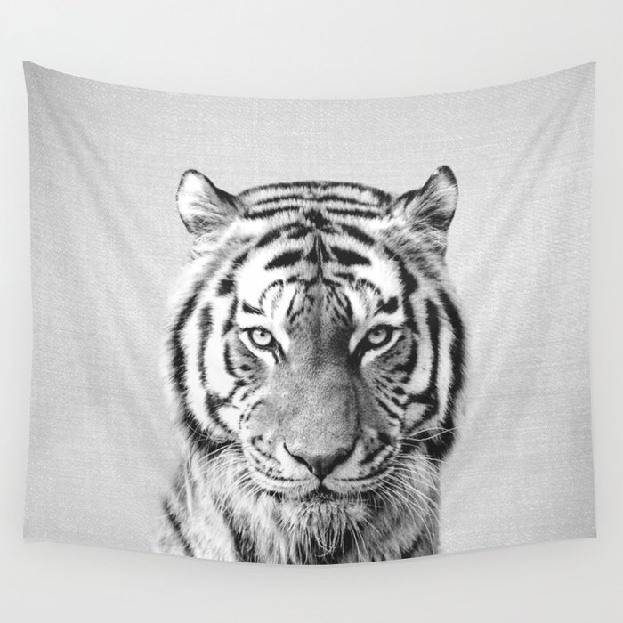 Tiger - Black & White Wall Tapestry