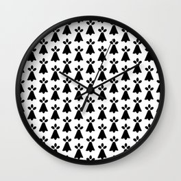 Black and White Ermine Spots French Country Print Wall Clock