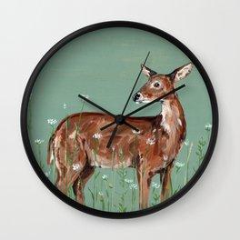 Deer in Wildflower Field Wall Clock