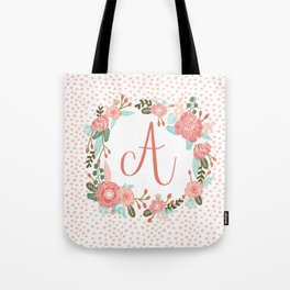 Monogram A - cute girls coral florals flower wreath, coral florals, baby girl, baby blanket Tote Bag