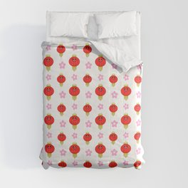 Kawaii Cute Red Lantern with Pink Cherry Blossom Sakura Flowers Comforters