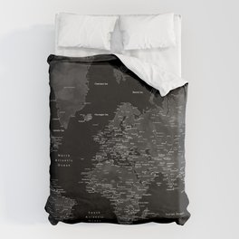 Black and grey world map with cities Duvet Cover