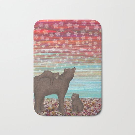 brown bears and stars Bath Mat