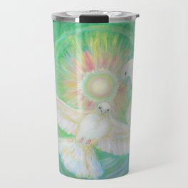 Doves, healing, green energy Travel Mug