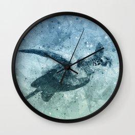 Geometric Flying Green Sea Turtle Wall Clock