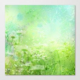 Green Watercolor Floral Canvas Print