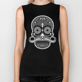 Black Skull  White Suits Biker Tank