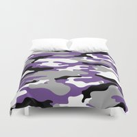 military Duvet Covers featuring Military Camo - Violet by MoshFox