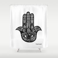hamsa Shower Curtains featuring Hamsa by fortyonehundred
