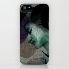 """""""The Girl and the Moon Burlap Texture"""" iPhone Case"""