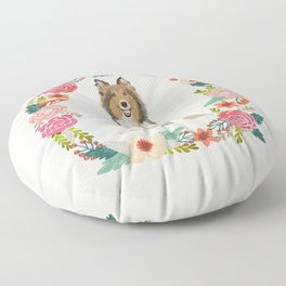 Sheltie floral wreath dog breed shetland sheepdog pet portrait Floor Pillow