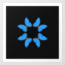 Blue Morpho Butterfly Symmetry Art Print