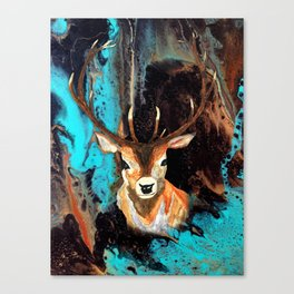 Watercolor Deer and Acrylic Pour Canvas Print
