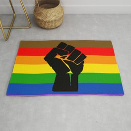 LGBT Pride Flag More Colors Raised Fist (More Pride) Rug