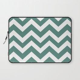 Wintergreen Dream - green color - Zigzag Chevron Pattern Laptop Sleeve