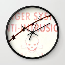 Danger Skull and Bones with Barbed Wire Wall Clock