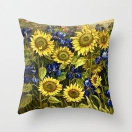 Sunflowers & Blue Irises by Vincent van Gogh Throw Pillow