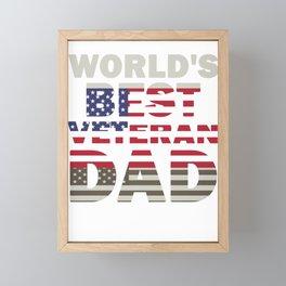 Father's Day Veteran Dad World's Best Veteran Dad American Flag Framed Mini Art Print