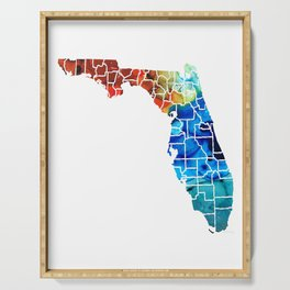Florida - Map by Counties Sharon Cummings Art Serving Tray