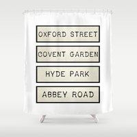calendars Shower Curtains featuring London by Shabby Studios Design & Illustrations ..