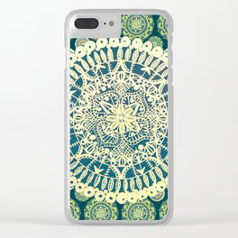 Teal and Gold Variety Mandalas Clear iPhone Case