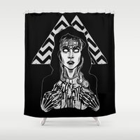 laura palmer Shower Curtains featuring She's Filled with Secrets - Laura Palmer - Twin Peaks by Alice Rogers