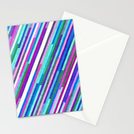 Neon Lights, Neon Stripes Stationery Cards