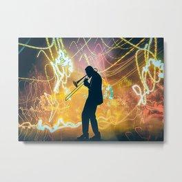 Trombone Trombonist In The Light Poster Metal Print