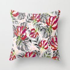 Tropical plants pattern and watercolor flowers Throw Pillow