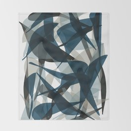 Abstract Whale Monotone Throw Blanket