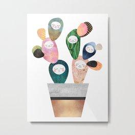 Sleepy Cactus Metal Print