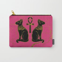 Sphinx Black & Gold Egyptian  cat on fuchsia Carry-All Pouch