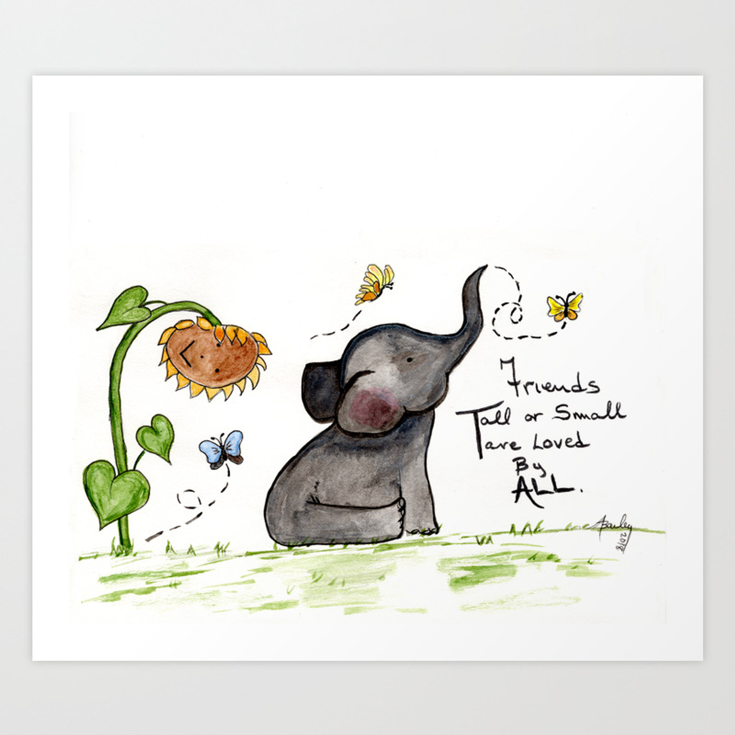 Friends Are Loved By All Baby Elephant Sunflower Butterflies Art By Annette Bailey Art Print By Countrysquirrelsrus