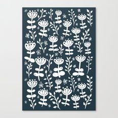 Navy Blooms Canvas Print