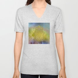 Colorful Watercolor And Gold Hamsa Hand Unisex V-Neck