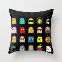 pac man Throw Pillows featuring pac man by sEndro