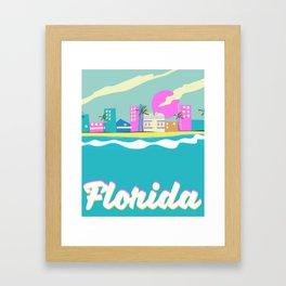 Florida 80s vacation poster Framed Art Print