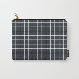 Gunmetal - grey color - White Lines Grid Pattern Carry-All Pouch
